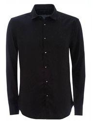 John Varvatos Black Leopard Jacquard Shirt