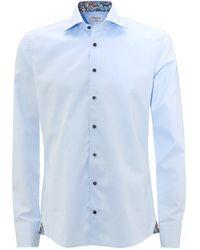 Stenstroms Light Blue Slimline Paisley Trim Shirt