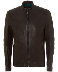 BOSS Jagson Slim Fit Brown Leather Jacket