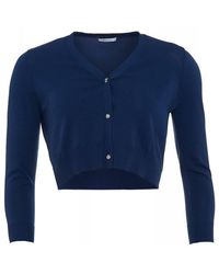 I Blues | Knitwear, Navy Blue Short 'casa' Cardigan | Lyst