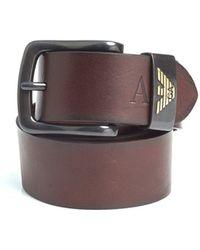 Armani - Dark Brown Eagle Logo Leather Belt - Lyst