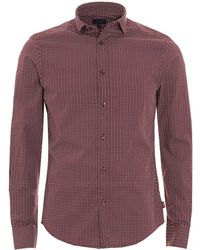Armani Jeans - Geometric Print Burgundy Navy Cotton Shirt - Lyst
