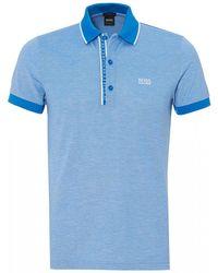BOSS - Paule 4 Polo Shirt, Slim Fit Blue Polo - Lyst
