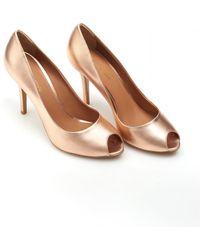 Emporio Armani - Peep Toe Heels, Metallic Bronze Gold Court Shoes - Lyst