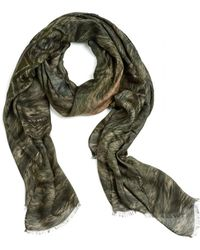 Etro - Large Wolf Print Military Scarf - Lyst