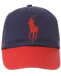 Ralph Lauren Polo Player Baseball Cap, Navy & Red Hat - Blue