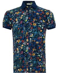 Etro - All Over Floral Paisley Polo Shirt, Regular Fit Navy Multi Coloured Polo - Lyst