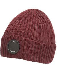 C P Company - Burgundy Red Goggle Lens Ribbed Beanie Hat - Lyst