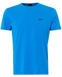 BOSS Athleisure - Rear And Chest Logo T-shirt, Crew Neck Blue Astor Tee - Lyst