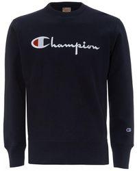 Champion Reverse Weave Sweatshirt, Navy Script Logo Sweat - Blue