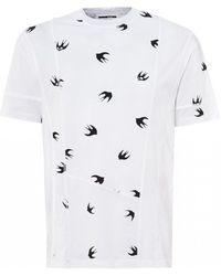 McQ Swallow Swarm Cut Up T-shirt, White Tee