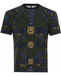 Versus Heritage Belt Print T-shirt, Slim Fit Military Green Tee