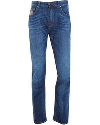 Etro Jeans, Paisley Pocket Navy Blue Slim Fit Denim