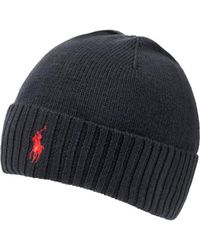 Ralph Lauren Logo Beanie, Black Ribbed Hat