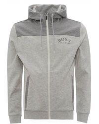 BOSS Saggy Zip Through Hoodie, Pastel Grey Hooded Jacket - Gray