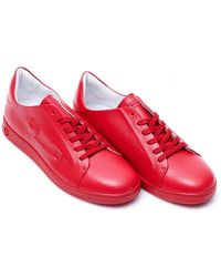 Versus - Embossed Safety Pin Trainers, Tonal Red Leather Sneakers - Lyst