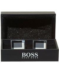 BOSS Egon Rectangular Silver Gray Cufflinks