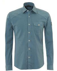 Belstaff - Steadway Shirt, Tilted Chest Pocket Light Chambray Blue Shirt - Lyst