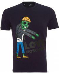 Love Moschino - Zombie T-shirt, Slim Fit Navy Blue Tee - Lyst