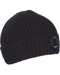 C P Company - Lens Beanie, Black Ribbed Hat - Lyst