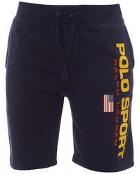 Polo Ralph Lauren Cruise Navy Polo Sport Fleece Shorts - Blue