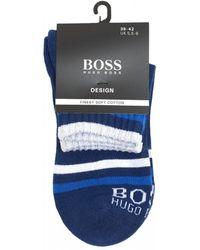 BOSS Blue Striped Ankle Logo Sport Socks