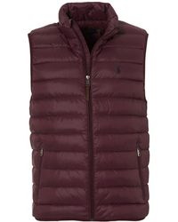 Ralph Lauren - Plain Burgundy Gilet, Quilted Puffa Packaway Jacket - Lyst