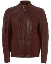 BOSS Numano Nappa Lambskin Dark Red Leather Jacket - Brown