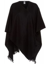 Fraas - Black Wool Poncho One Size Cover Up - Lyst