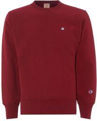 Champion Small Logo Sweatshirt, Burgundy Crew Neck Sweat - Red