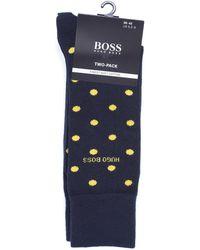 BOSS Black - Two Pack Socks, One Dotted One Plain Navy Blue Socks - Lyst