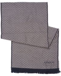 Armani - Small Diamond Print Beige Wool Scarf - Lyst