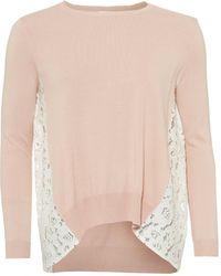 I Blues - Eccesso Knit, Lace Panels Powder Pink Jumper - Lyst