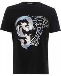 Versace Foil Half Medusa T-shirt, Black Tee