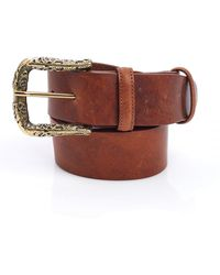Elliot Rhodes - Engraved Gold Buckle Tan Brown Jeans Belt - Lyst