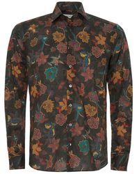 Etro Green Floral Spread Collar Tropical Shirt