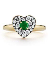 Jemma Wynne Privé Emerald Heart Ring - Multicolor