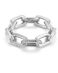 WALTERS FAITH Saxon Double Diamond Link Ring - Metallic