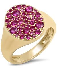 Eriness Ruby Pinky Signet Ring - Metallic
