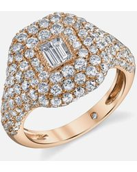 SHAY - Pave Essential Pinky Ring In Rose Gold With Baguette Diamond - Lyst