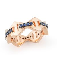 WALTERS FAITH Keynes Signature Sapphire Hex Ring - Metallic