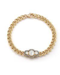 Jemma Wynne Toujours Curb Link Pearl Bracelet - Metallic