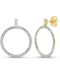 Eriness Diamond Baguette Loop Earrings - Metallic