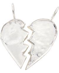 Ali Grace Jewelry Sterling W/ Diamonds Friendship Heart Charm - Multicolor