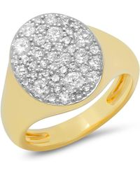Eriness Diamond Pinky Signet Ring - Metallic