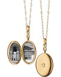 Monica Rich Kosann 18k Gold Locket Necklace With Diamond Center - Metallic