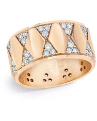 WALTERS FAITH Hex Pattern Cigar Ring - Metallic
