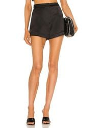 Alexis Gaines Structured Satin Shorts - Black