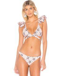 Nightcap - Ruffle Wrap Top In Pink - Lyst