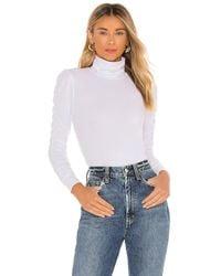 Lamade Monroe Shirred Sleeve Turtleneck - White